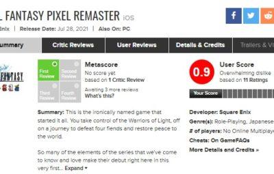 Геймеры занижают оценки Final Fantasy Pixel Remaster на Metacritic из-за отсутствия консольных версий